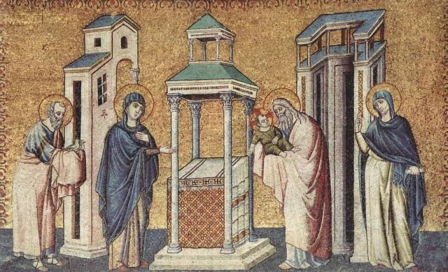 Пьетро Каваллини (1240—1330). «Цикл мозаик с шестью сценами из жизни Марии в церкви Санта Мария в Трастевере в Риме, Сретение»