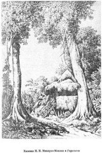 Хижина в Гарагаси. Гравюра по рисунку Миклухо-Маклая