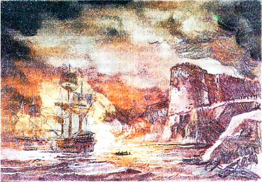 Штурм крепости острова Корфу. Рисунок В. Коченкова из книги И. И. Фирсова Петра творенье